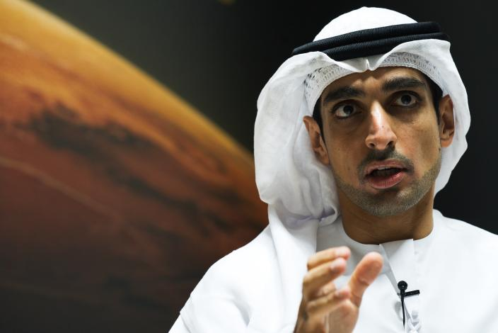 Omran Sharaf, the project director for the Emirates' Hope space probe to Mars, speaks during an interview at the Mohammed bin Rashid Space Center in Dubai, United Arab Emirates, Sunday, July 19, 2020. A Japanese H-IIA rocket carrying a United Arab Emirates Mars spacecraft has been placed on the launch pad for Monday's scheduled liftoff for the Arab world's first interplanetary mission, officials said Sunday. (AP Photo/Jon Gambrell)
