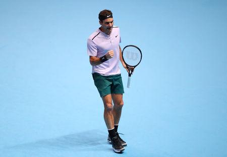 Tennis - ATP World Tour Finals - The O2 Arena, London, Britain - November 14, 2017   Switzerland's Roger Federer reacts during his group stage match against Germany's Alexander Zverev    REUTERS/Hannah McKay