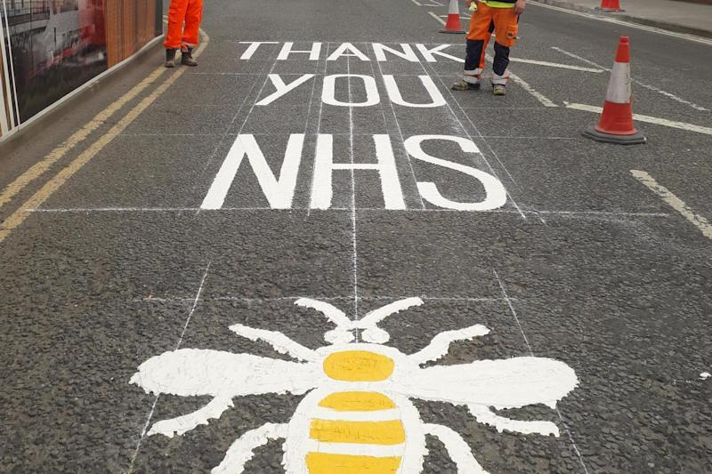 Road markings that have been painted onto roads near the Nightingale Hospital North West in Manchester: PA