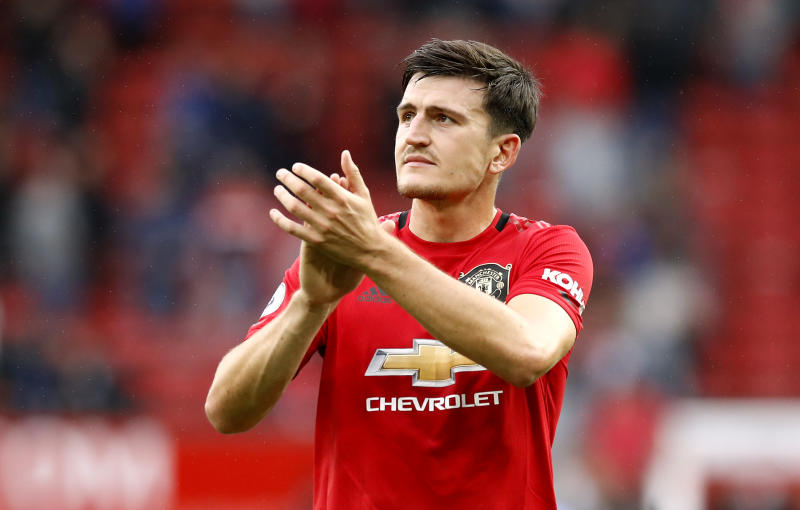 Manchester United's Harry Maguire applauds the fans after the Premier League match at Old Trafford, Manchester. (Photo by Martin Rickett/PA Images via Getty Images)