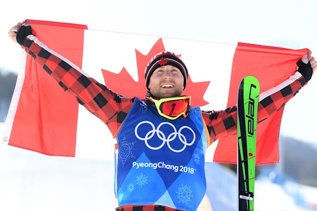 <p>Gold medalist, Brady Leman of Canada celebrates as he crosses the finish in the Freestyle Skiing Men's Ski Cross Big Final on day 12 of the PyeongChang 2018 Winter Olympic Games at Phoenix Snow Park on February 21, 2018 in Pyeongchang-gun, South Korea. (Photo by David Ramos/Getty Images) </p>