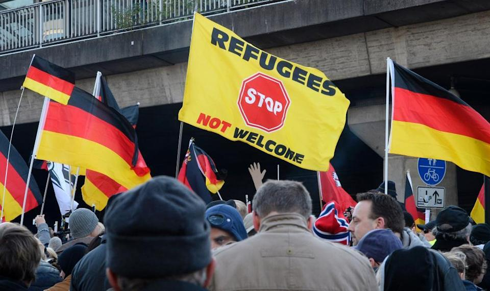German far-right supporters demonstrate at Cologne's train station in January 2016
