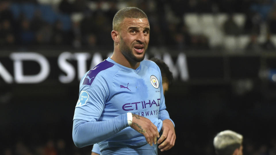 Manchester City's Kyle Walker during the English Premier League soccer match between Manchester City and West Ham at Etihad stadium in Manchester, England, Wednesday, Feb. 19, 2020. (AP Photo/Rui Vieira)