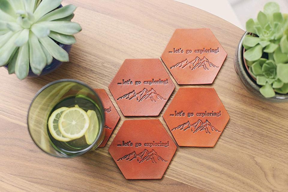 <p>Customize these cool <span>RSVPhandcrafted Personalized Leather Coasters</span> ($33).</p>
