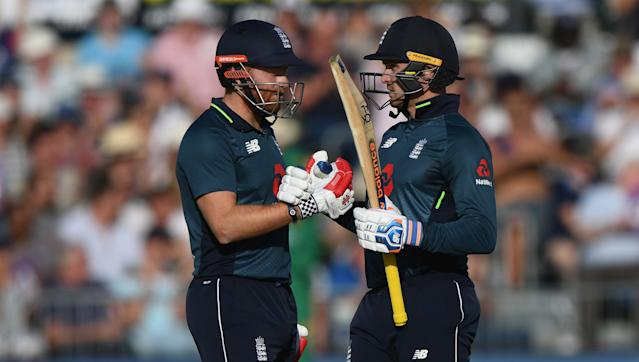 Jason Roy reaches 50 during the ODI match between England and Pakistan. (Credit: Getty Images)
