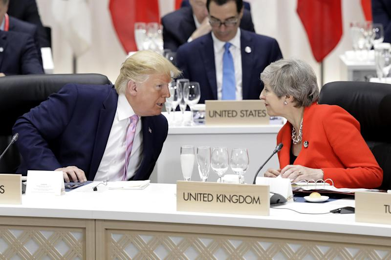Sources claimed Donald Trump told former Prime Minister Theresa May she was 'weak' (Getty Images)