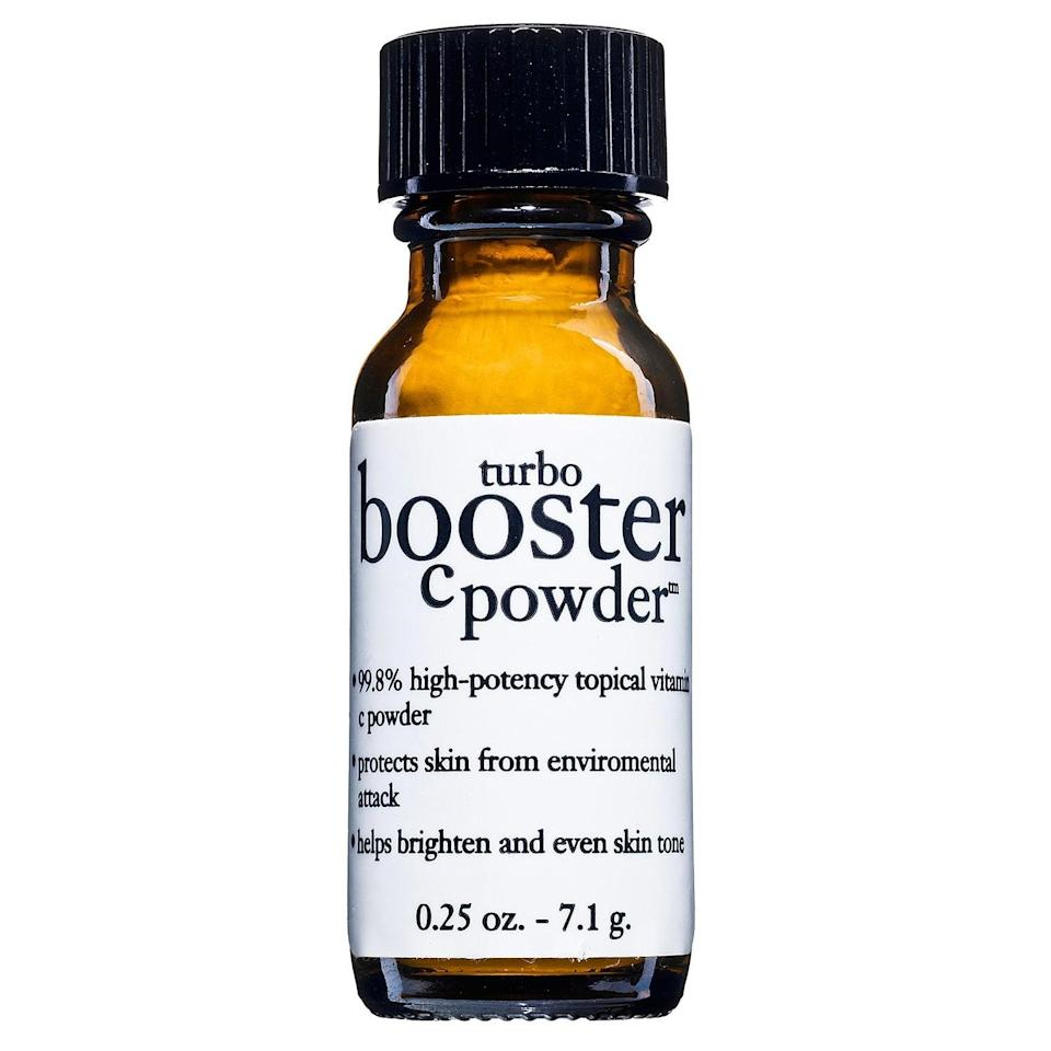 "<p>Adding this <a href=""https://www.popsugar.com/buy/Philosophy-Turbo-Booster-C-Powder-579730?p_name=Philosophy%20Turbo%20Booster%20C%20Powder&retailer=sephora.com&pid=579730&price=39&evar1=bella%3Aus&evar9=47529251&evar98=https%3A%2F%2Fwww.popsugar.com%2Fbeauty%2Fphoto-gallery%2F47529251%2Fimage%2F47529260%2FPhilosophy-Turbo-Booster-C-Powder&list1=sephora%2Cacne%2Cdark%20spots%2Cskin%20care&prop13=api&pdata=1"" class=""link rapid-noclick-resp"" rel=""nofollow noopener"" target=""_blank"" data-ylk=""slk:Philosophy Turbo Booster C Powder"">Philosophy Turbo Booster C Powder</a> ($39) to a serum like The Ordinary Pycnogenol, is one of my favorite powerful, all-over treatments for hyperpigmentation. This <a href=""https://www.popsugar.com/buy/vitamin-C-powder-550428?p_name=vitamin%20C%20powder&retailer=sephora.com&pid=550428&evar1=bella%3Aus&evar9=47529251&evar98=https%3A%2F%2Fwww.popsugar.com%2Fbeauty%2Fphoto-gallery%2F47529251%2Fimage%2F47529260%2FPhilosophy-Turbo-Booster-C-Powder&list1=sephora%2Cacne%2Cdark%20spots%2Cskin%20care&prop13=api&pdata=1"" class=""link rapid-noclick-resp"" rel=""nofollow noopener"" target=""_blank"" data-ylk=""slk:vitamin C powder"">vitamin C powder</a> can technically be added to any serum, moisturizer, or regular eye cream to give skin a brightening boost. (I would avoid combining it with anything including niacinamide which can make vitamin C less effective and potentially irritate sensitive skin.)</p>"