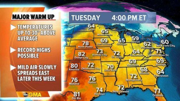 PHOTO: The warmer weather will start to approach Chicago on Sunday as well, but even warmer weather will be arriving over the coming days.   (ABC News)