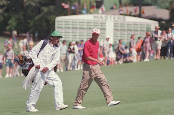 Tiger Woods and caddie Tommy Bennett in 1995.