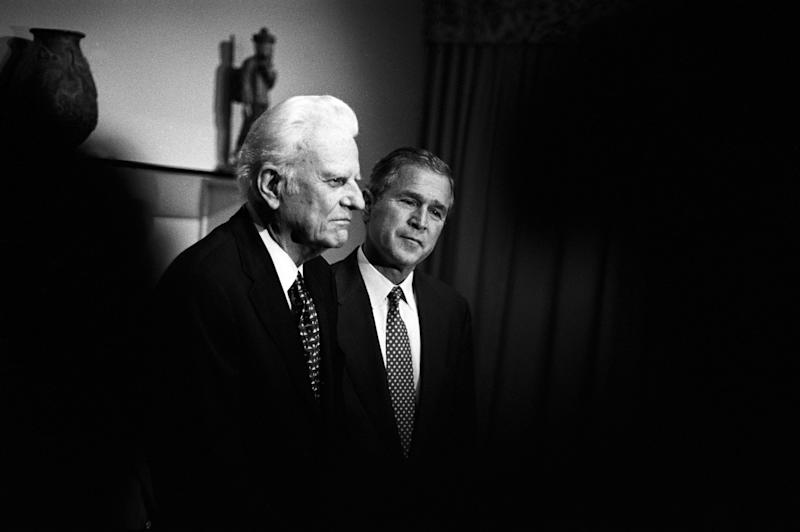 Billy Graham meets privately with Texas Governor and Republican presidential candidate George W. Bush in Jacksonville, Fla., on Nov. 5, 2000. Graham gave his tacit endorsement to Bush's run for the presidency after the two talked about faith and the future of the country.