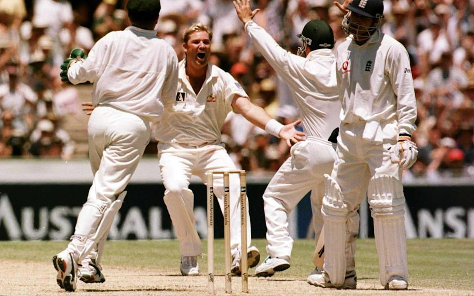 In his first over on his return to Test cricket Shane Warne of Australia celebrates trapping Mark Butcher of England LBW for 36 during the second days play of the Fifth Test Match at the Sydney Cricket Ground, Sydney, Australia - Getty Images Sport