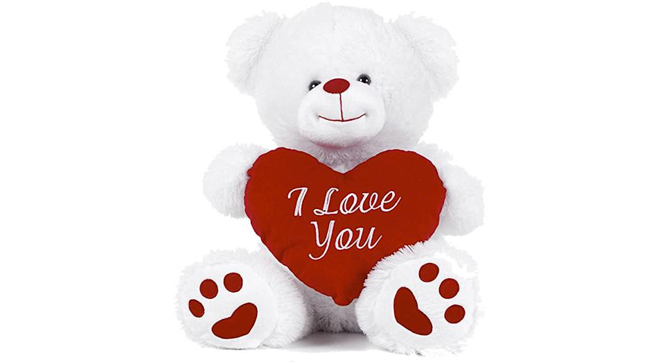 "White Teddy Bear holding Red Heart with ""I Love You"""