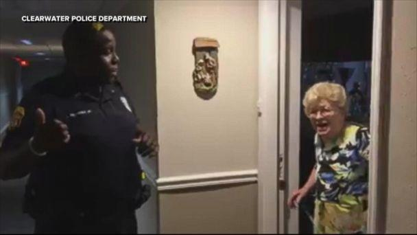 Betty Helmuth of Clearwater, Florida, was thrilled to see police officers at her door on Sept. 7, with water and groceries in tow. (ABCNews.com)