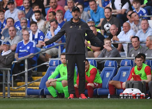 Jurgen Klopp reacts during the Premier League match between Cardiff City and Liverpool