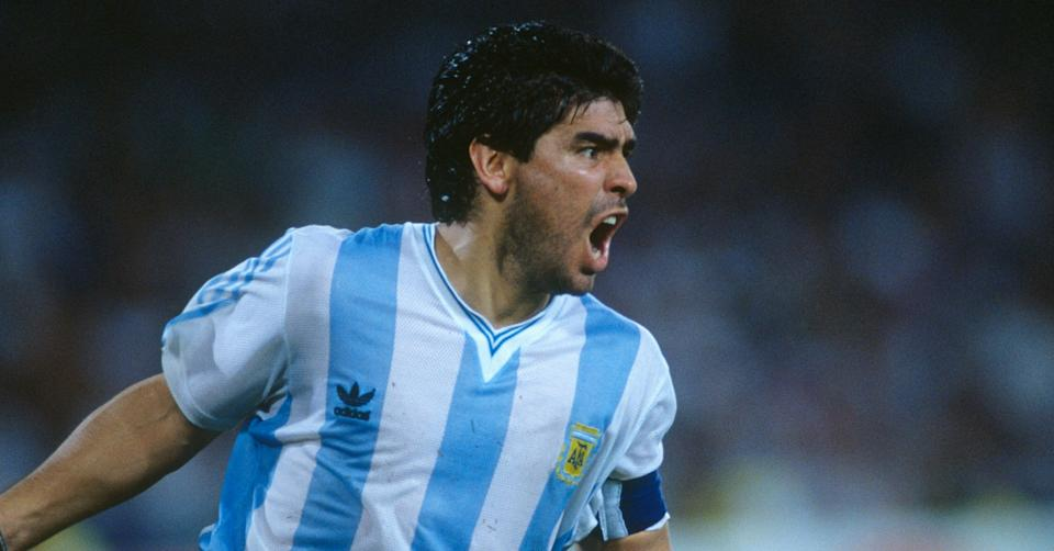 Diego Maradona (Argentina) celebrates victory over Italy during the semi-finals of the 1990 FIFA World Cup. (Photo by RENARD eric/Corbis via Getty Images) (Photo: Corbis via Getty Images)