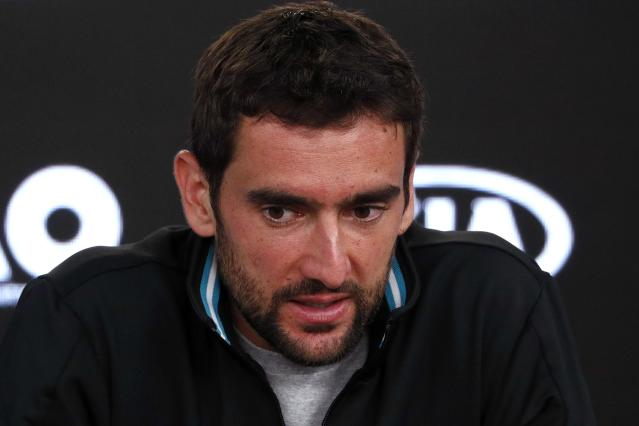 Tennis - Australian Open - Men's singles final - Rod Laver Arena, Melbourne, Australia, January 29, 2018. Croatia's Marin Cilic during a press conference after losing the final against Switzerland's Roger Federer. REUTERS/Edgar Su