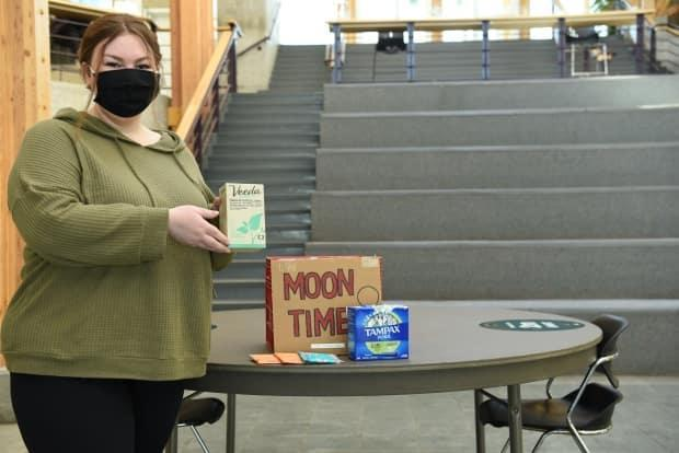 Social work student Emily Erickson helped with the successful campaign to make menstrual products free at UNBC's Prince George campus in northern B.C. (UNBC / handout - image credit)