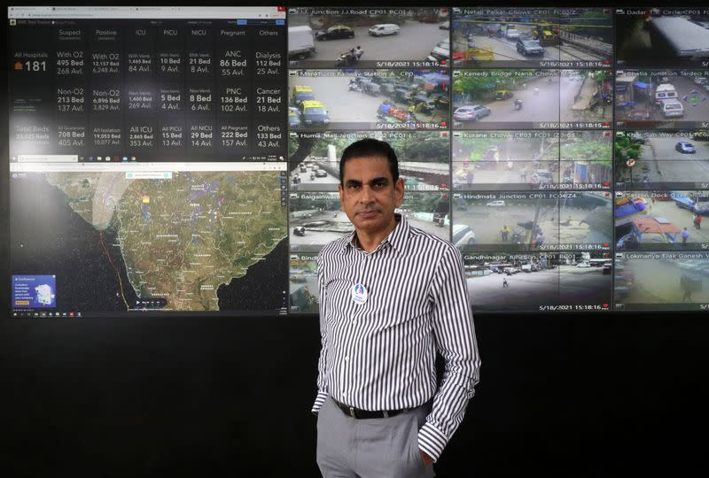 Iqbal Singh Chahal, Commissioner of BMC, poses for a photograph inside the disaster management war room in Mumbai