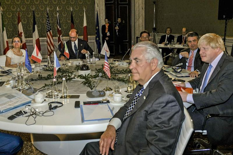Boris Johnson joins G7 talks in Italy, where foreign ministers are preparing a list of sanctions against Russia, to be delivered by US Secretary of State, Rex Tillerson (centre): AP