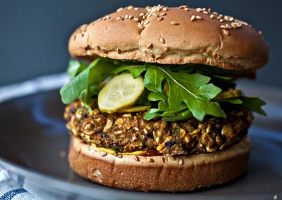 "<div class=""caption-credit""> Photo by: Photo by Ashley Rodriguez</div><div class=""caption-title""></div><b>Black Bean and Pumpkin Burgers</b> <br> Whisk together beaten egg, chili and garlic powder and cinnamon. Combine mashed black beans, canned pumpkin, rolled oats and the egg mixture to form a mixture that is sticky yet holds together. Shape into patties and bake in a 375° oven, turning once, for about 15 minutes. Assemble with burger fixings. <br> <i>RECIPE BY Teri Tsang Barrett</i>"