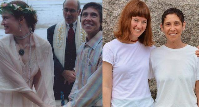 At our wedding in 2005, left, and just before renewing our vows at Bride Pride, on July 22, 2017 (I'm on the left in both photos). (Photo on right: Dan McKeon)