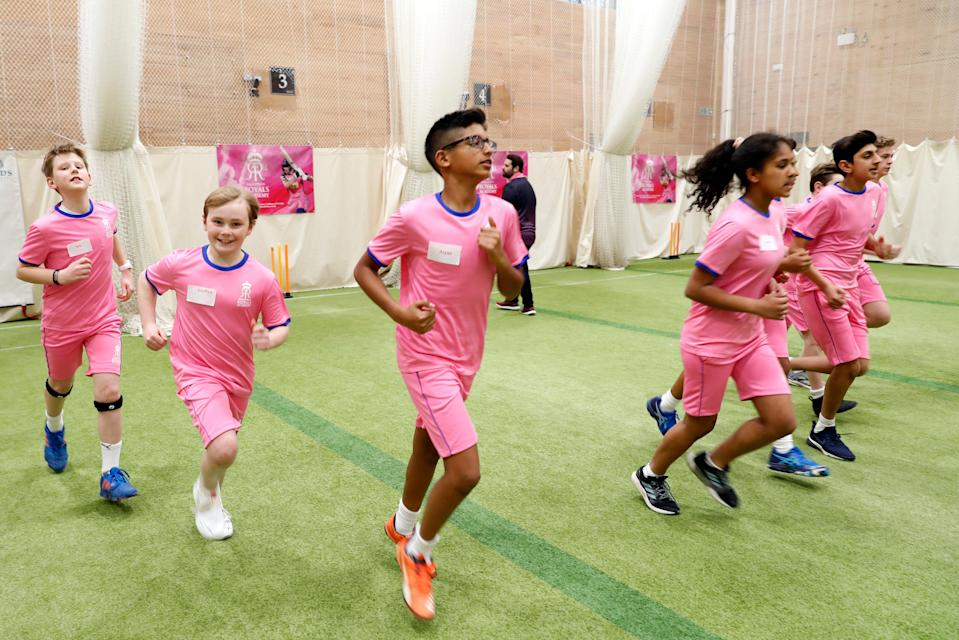 Children from the Rajasthan Royals UK academy.Getty Images for Rajasthan Royal