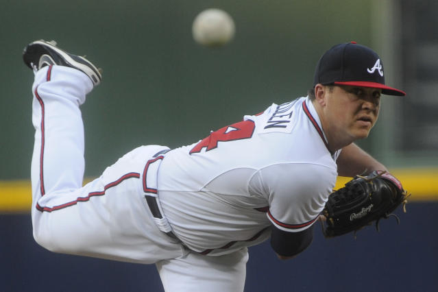 Atlanta Braves' Kris Medlen pitches against the Cleveland Indians during the first inning of a baseball game on Thursday, Aug. 29, 2013, in Atlanta. (AP Photo/John Amis)