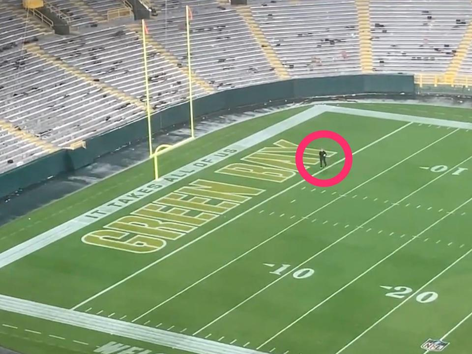 Packers trainer Bryan Engel searches for Aaron Jones' lost necklace late into the night.