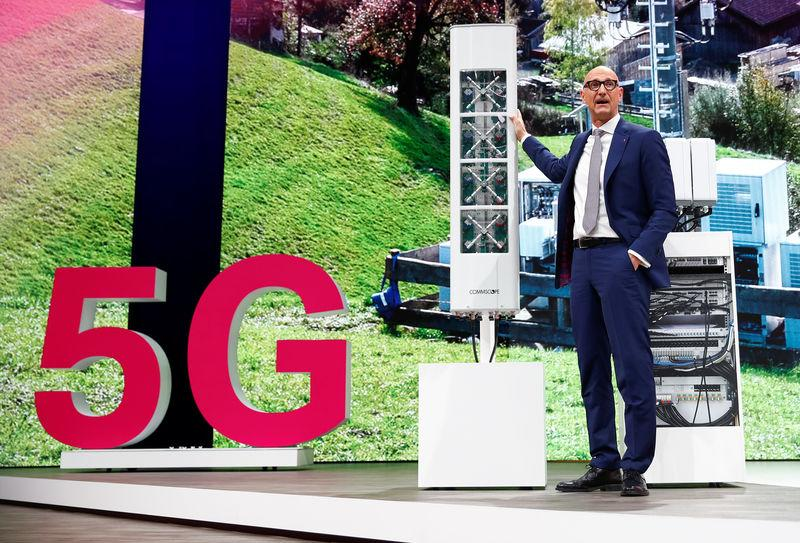 Tim Hoettges, CEO of Deutsche Telekom AG stands in front of regular GSM antenna equipped with 5G technology of multi-national network infrastructure provider Commscope during the company's AGM in Bonn