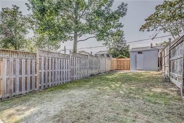<p><span>50 Wiley Ave, Toronto, Ont.</span><br> Outside, the home has a fully-fenced backyard, outdoor storage, and a double parking pad.<br> (Photo: Zoocasa) </p>