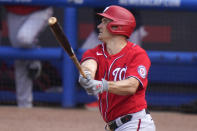 Washington Nationals' Ryan Zimmerman watches after hitting a three-run home run during the fifth inning of a spring training baseball game against the New York Mets, Thursday, March 4, 2021, in Port St. Lucie, Fla. (AP Photo/Lynne Sladky)