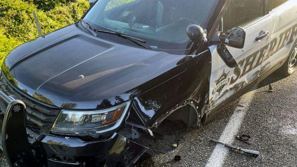 PHOTO: The Snohomish County Sheriff's office shared photos of a patrol car that was struck by a Tesla they say was in 'autopilot' mode on May 15, 2021. (Snohomish County Sheriff's Office/Facebook)