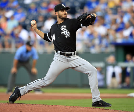Chicago White Sox starting pitcher Dylan Cease delivers to a Kansas City Royals batter during the first inning of a baseball game at Kauffman Stadium in Kansas City, Mo., Tuesday, July 16, 2019. (AP Photo/Orlin Wagner)