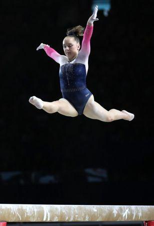 Oct 3, 2017; Montreal, Quebec, CAN; Amy Tinkler of Great Britain competes on the balance beam during the 47th FIG Artistic Gymnastics World Championship at Montreal Olympic Stadium. Mandatory Credit: Jean-Yves Ahern-USA TODAY Sports