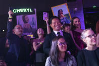 Supporters of Cheryl Yao cheer during the finals of the 2019 Miss Universe Singapore beauty pageant at Zouk.