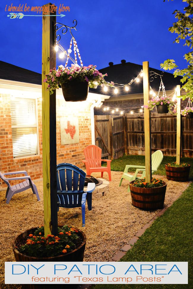 """<p>A term made up by blogger Kristi, """"Texas Lamp Posts"""" can create the feeling of an outdoor room, especially when vintage lights are added.</p><p><strong>See more at <a href=""""http://www.ishouldbemoppingthefloor.com/2015/05/diy-patio-area-with-texas-lamp-posts.html"""" rel=""""nofollow noopener"""" target=""""_blank"""" data-ylk=""""slk:I Should Be Mopping the Floor"""" class=""""link rapid-noclick-resp"""">I Should Be Mopping the Floor</a>.</strong></p><p><strong><a class=""""link rapid-noclick-resp"""" href=""""https://www.amazon.com/Backyard-Hanging-Outdoor-Pergola-Deckyard/dp/B00RQHBZVS/ref=sr_1_4?tag=syn-yahoo-20&ascsubtag=%5Bartid%7C10050.g.3404%5Bsrc%7Cyahoo-us"""" rel=""""nofollow noopener"""" target=""""_blank"""" data-ylk=""""slk:Shop string lights"""">Shop string lights</a><br></strong></p>"""