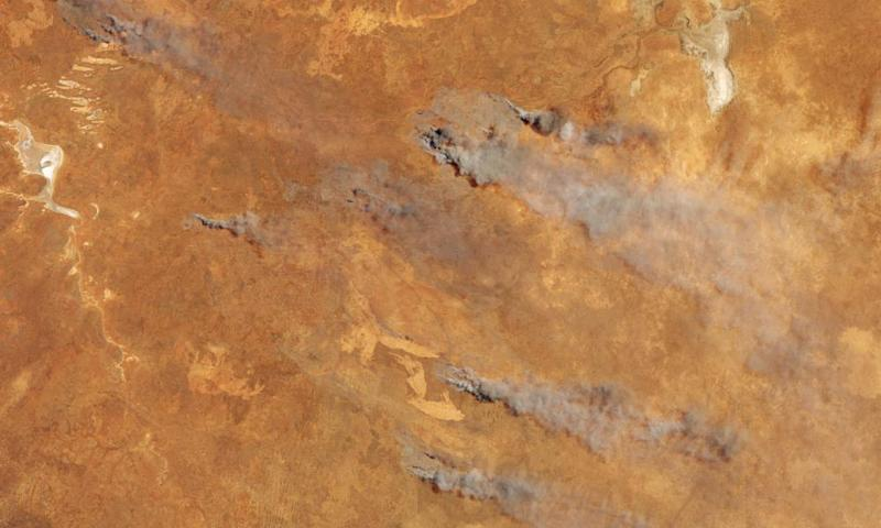 A satellite image showing fire and smoke in southern Western Australia. Experts say the dryness in the region is a result of the Indian Ocean dipole.