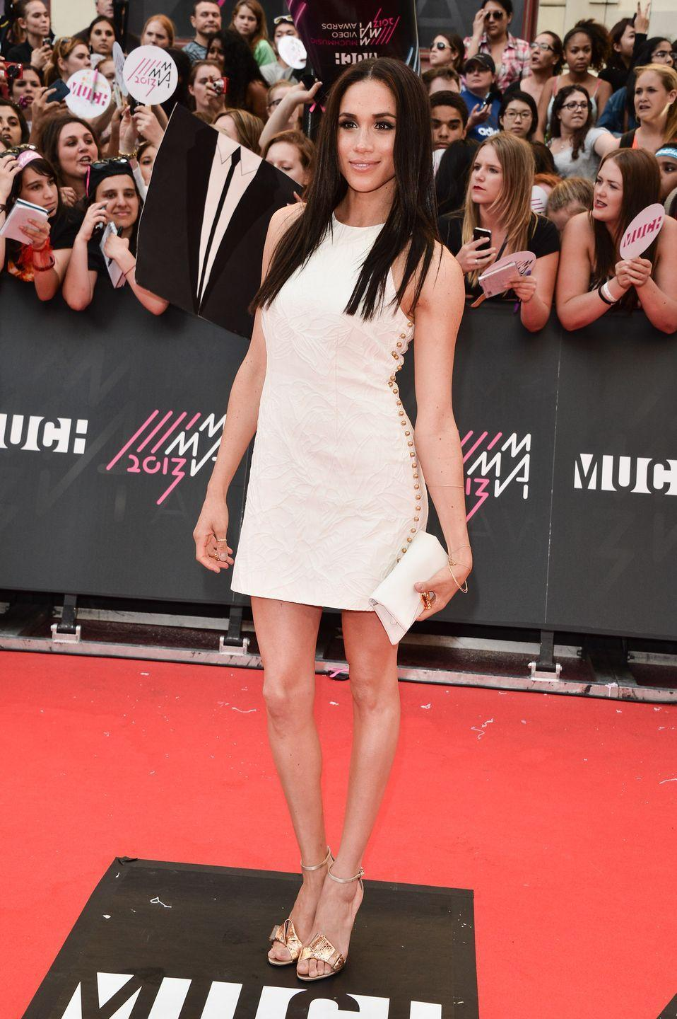 <p>Arriving at the 2013 MuchMusic Video Awards, June 2013</p>