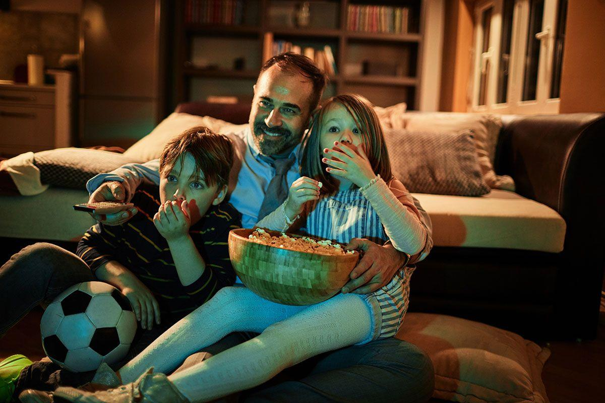 <p>Make Father's Day a movie night by screenings some of Dad's favorites that match a theme. Like, all of the <em>Godfathers</em> or a Tim Curry marathon (<em>Clue</em>, <em>Rocky Horror,</em> and <em>Star Wars: The Clone Wars</em>? Yes please!). Obviously, keep age-appropriateness in mind when you're picking your selections! </p>