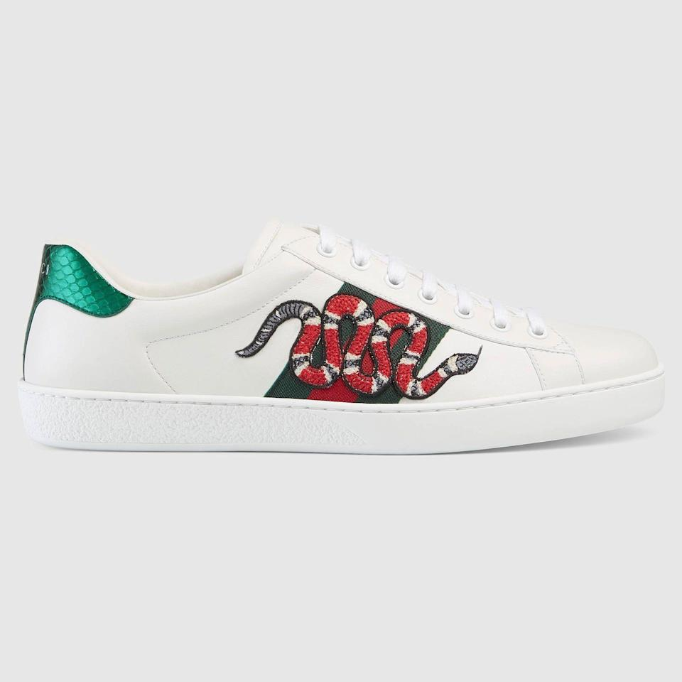 """<p><strong>Ace Embroidered Sneakers</strong></p><p>gucci.com</p><p><strong>$690.00</strong></p><p><a href=""""https://go.redirectingat.com?id=74968X1596630&url=https%3A%2F%2Fwww.gucci.com%2Fus%2Fen%2Fpr%2Fmen%2Fshoes-for-men%2Fsneakers-for-men%2Flow-top-sneakers-for-men%2Fmens-ace-embroidered-sneaker-p-45623002JP09064&sref=https%3A%2F%2Fwww.esquire.com%2Fstyle%2Fmens-accessories%2Fadvice%2Fg2538%2Fluxury-sneaker-brands-worth-spending-money%2F"""" rel=""""nofollow noopener"""" target=""""_blank"""" data-ylk=""""slk:Shop Now"""" class=""""link rapid-noclick-resp"""">Shop Now</a></p><p>The Gucci sneaker look is hard to mistake for anything else. It has the kind of standard Italian high-fashion take, with bold pops of color or design, coupled with recurring motifs that are as widely recognized as the brand name. Gucci doesn't skimp out on styles, either. Although the embellished low-tops are a classic, the brand has also made waves with its chunky sneakers.</p>"""