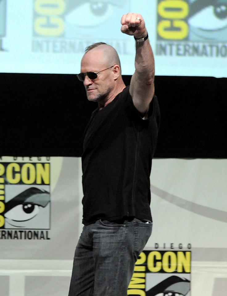 """SAN DIEGO, CA - JULY 20:  Actor Michael Rooker speaks onstage at Marvel Studios """"The Guardians of the Galaxy"""" during Comic-Con International 2013 at San Diego Convention Center on July 20, 2013 in San Diego, California.  (Photo by Kevin Winter/Getty Images)"""