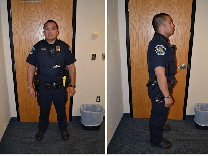 St. Anthony Police Department officer Jeronimo Yanez poses for investigation photographs after he fatally shot Philando Castile during a traffic stop in July 2016, in a combination of photos released on June 20, 2017 after a jury declared Yanez not guilty of second-degree manslaughter.