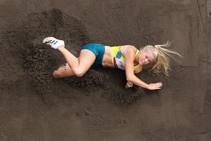 <p>Brooke Stratton of Team Australia competes in the Women's Long Jump final on day eleven of the Tokyo 2020 Olympic Games at Olympic Stadium on August 03, 2021 in Tokyo, Japan. (Photo by Richard Heathcote/Getty Images)</p>