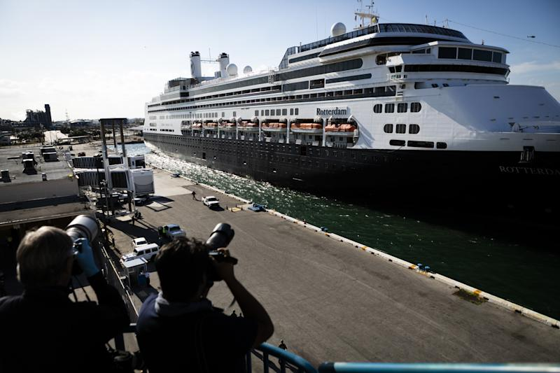 FLORIDA, USA USA - APRIL 02: Media worker take photos as M/S Rotterdam Cruise Ship arrives at Port Everglades in Fort Lauderdale, Florida, United States on April 02, 2020. (Photo by Eva Marie Uzcategui Trinkl/Anadolu Agency via Getty Images)