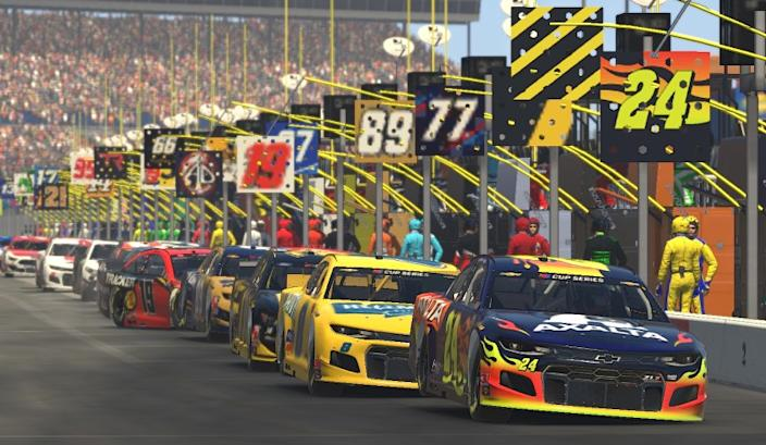 """NASCAR's iRacing format is an esport broadcast that has the look of a virtual presentation and the feel of something much more substantial. <span class=""""copyright"""">(Chris Graythen / Getty Images)</span>"""
