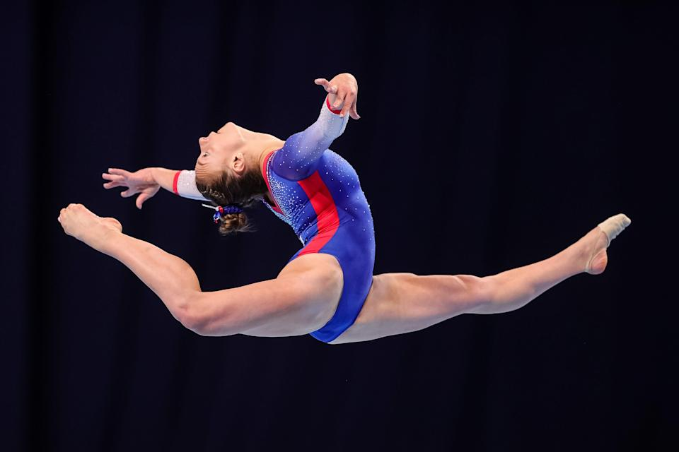 Grace McCallum competes on floor during Day 2 of the U.S. Gymnastics Olympic Team Trials at The Dome at America's Center on June 25, 2021, in St. Louis, Missouri