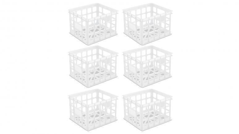 Sterilite Storage Crate White Set of 6