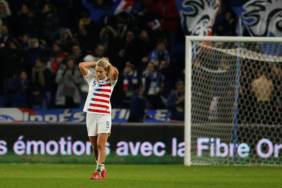 USA's Lindsay Horan reacts after her team conceded a goal  during a women's friendly football match between France and USA at Oceane stadium in Le Havre, on January 19, 2019. (Photo by CHARLY TRIBALLEAU / AFP)        (Photo credit should read CHARLY TRIBALLEAU/AFP/Getty Images)
