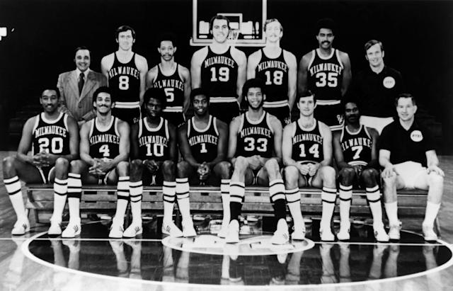 Oscar Robertson (front center, No. 1) and Lew Alcindor (front center, No. 33) led the Milwaukee Bucks to the 1970-71 NBA championship.(NBA Photo Library/NBAE/Getty Images)