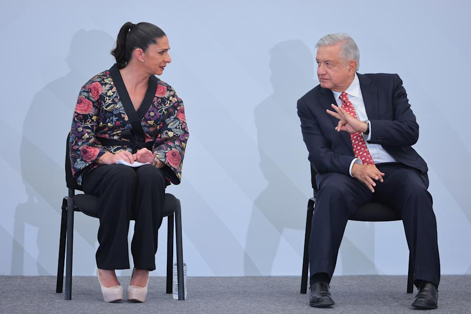 MEXICO CITY, MEXICO - JULY 05: Director of CONADE Ana Gabriela Guevara and President of Mexico Andres Manuel Lopez Obrador during the Mexico Olympic team farewell at CNAR on July 05, 2021 in Mexico City, Mexico. (Photo by Hector Vivas/Getty Images)